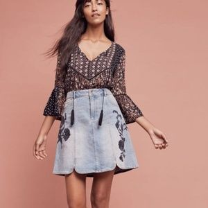 Pilcro Embroidered Denim Skirt
